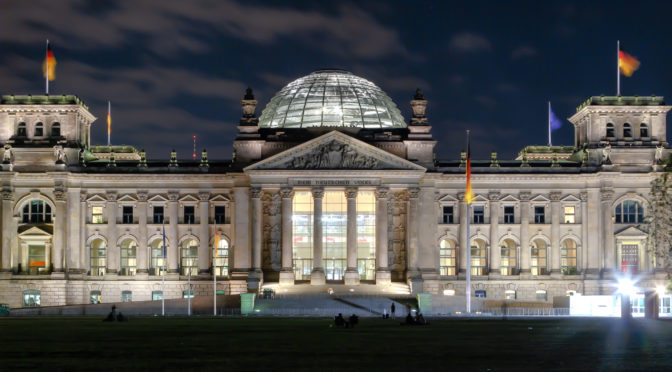 Berlin Reichstag Building at night